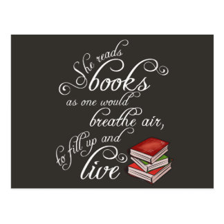 She Reads Books To Live Book Lover Postcard