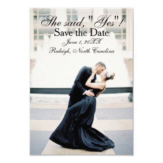 "She Said ""Yes"" - 3x5 Save the Date Announcement"