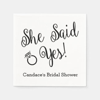 She Said Yes, Black and White Custom Napkins Disposable Napkin