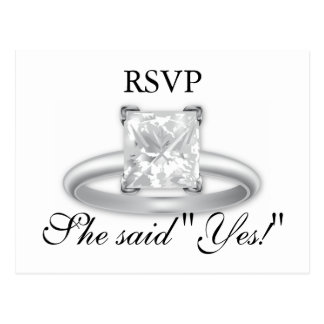 She said Yes! Diamond Ring RSVP Cards