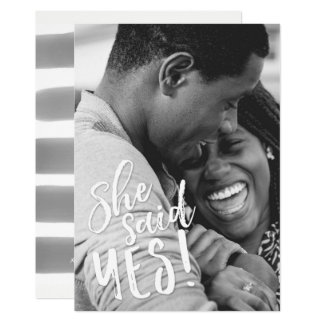 She Said Yes Engagement Photo Save the Date Card
