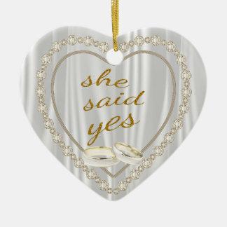 She Said Yes, Photo Engagement Ceramic Heart Decoration