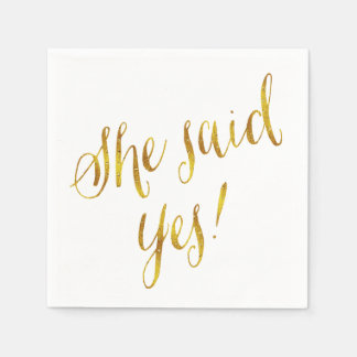 She Said Yes Quote Faux Gold Foil Metallic Design Paper Serviettes
