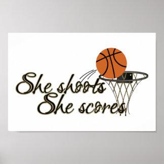 She Shoots, She Scores (Basketball) Poster