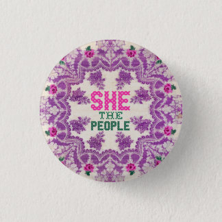 She The People Cross Stitch 3 Cm Round Badge