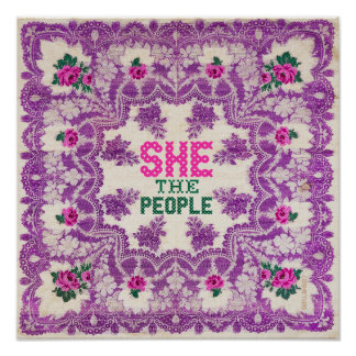 She The People Cross Stitch Poster