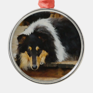 She Waits Tri Color Collie Silver-Colored Round Decoration