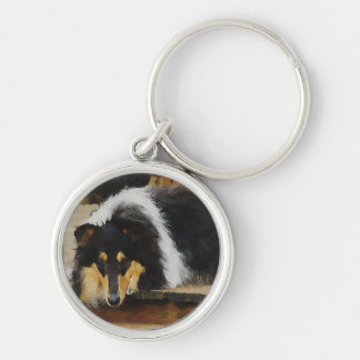 She Waits Tri Color Collie Silver-Colored Round Key Ring