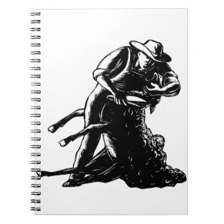 Shearer Shearing Sheep Woodcut Notebooks
