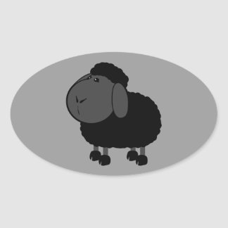 sheep-312776 ,BLACK SHEEP OF THE FAMILY, CARTOON C Oval Sticker