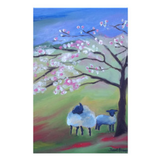 Sheep and Cherry Tree Stationery