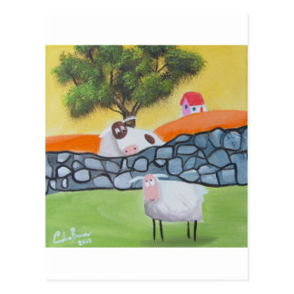 SHEEP AND COW POSTCARD