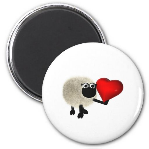 Sheep and red heart refrigerator magnets
