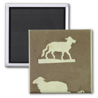 Sheep and Sheep with Lamb Square Magnet