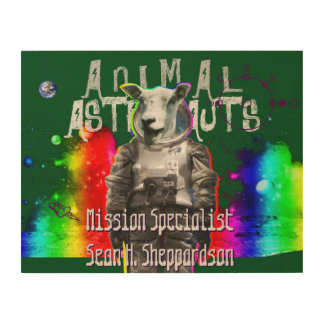 Sheep Astronaut in Space Wood Print