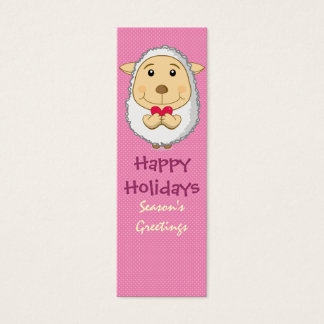 Sheep Bookmark Pink Mini Business Card