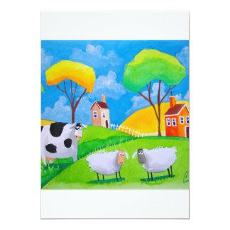 SHEEP COW FOLK PAINTING INVITATIONS