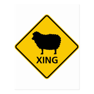 Sheep Crossing Highway Sign Post Card