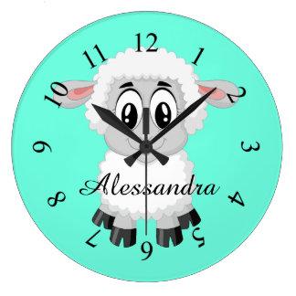 Sheep cute animal farm nursery kids room large clock