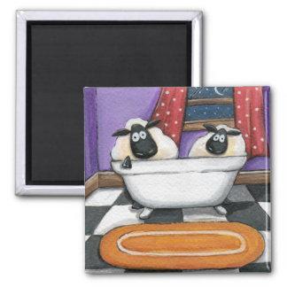 Sheep Dip | Sheep Taking a Bath Illustration Square Magnet