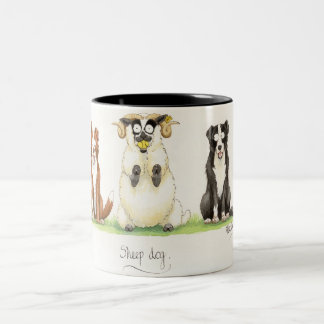'Sheep Dog' Mug. Two-Tone Coffee Mug