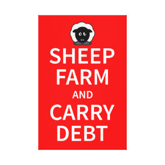 Sheep farm and carry debt canvas print