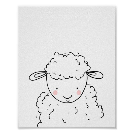 Sheep Farm Animal Nursery Lamb Wall Art Monochrome