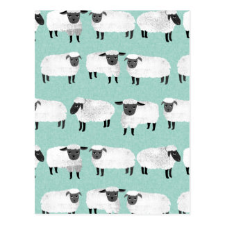 Sheep Farm Animal Sleep Pastel Mint /Andrea Lauren Postcard