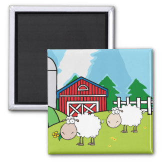 Sheep Farm Square Magnet