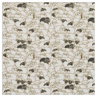 sheep flock black and white fabric
