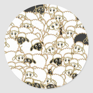 sheep flock black and white round sticker