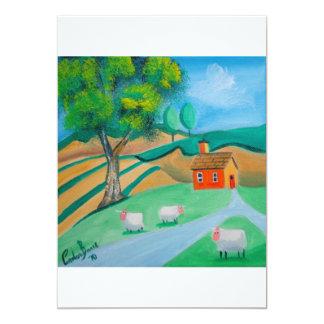 sheep folk art personalized announcements