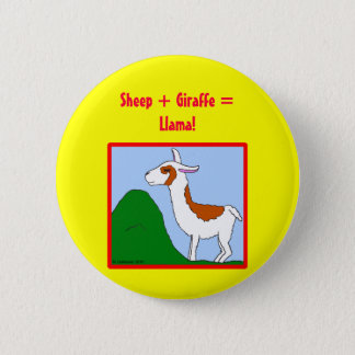 Sheep + Giraffe = Llama! 6 Cm Round Badge