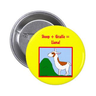 Sheep + Giraffe = Llama! Pinback Buttons