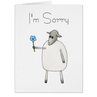 Sheep Giving a Flower, Sorry. Card