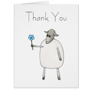 Sheep Giving a Flower, Thank You. Big Greeting Card