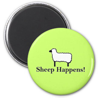 Sheep Happens! 6 Cm Round Magnet