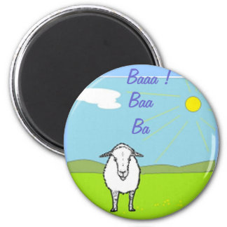 Sheep In A Field 6 Cm Round Magnet