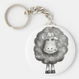 SHEEP IN PENCIL BASIC ROUND BUTTON KEY RING