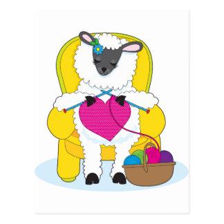 Sheep Knitting Heart Postcard