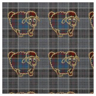 sheep on tartan background fabric