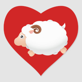 Sheep Sheeps Mammals White Cute Animal Heart Sticker