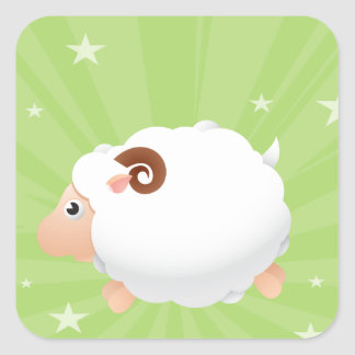 Sheep Sheeps Mammals White Cute Animal Square Sticker