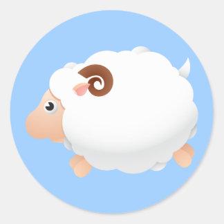 Sheep Sheeps Mammals White Cute Animal Round Stickers