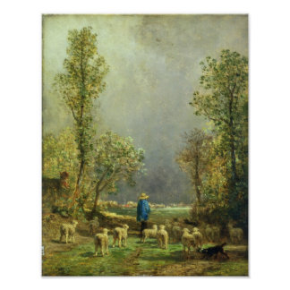 Sheep watching a Storm Poster