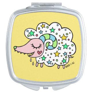 Sheep (white) of star handle makeup mirror