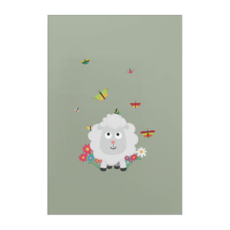 Sheep with flowers and butterflies Z1mk7 Acrylic Wall Art