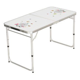 Sheep with flowers and butterflies Z1mk7 Beer Pong Table