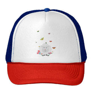 Sheep with flowers and butterflies Z1mk7 Cap