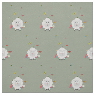 Sheep with flowers and butterflies Z1mk7 Fabric